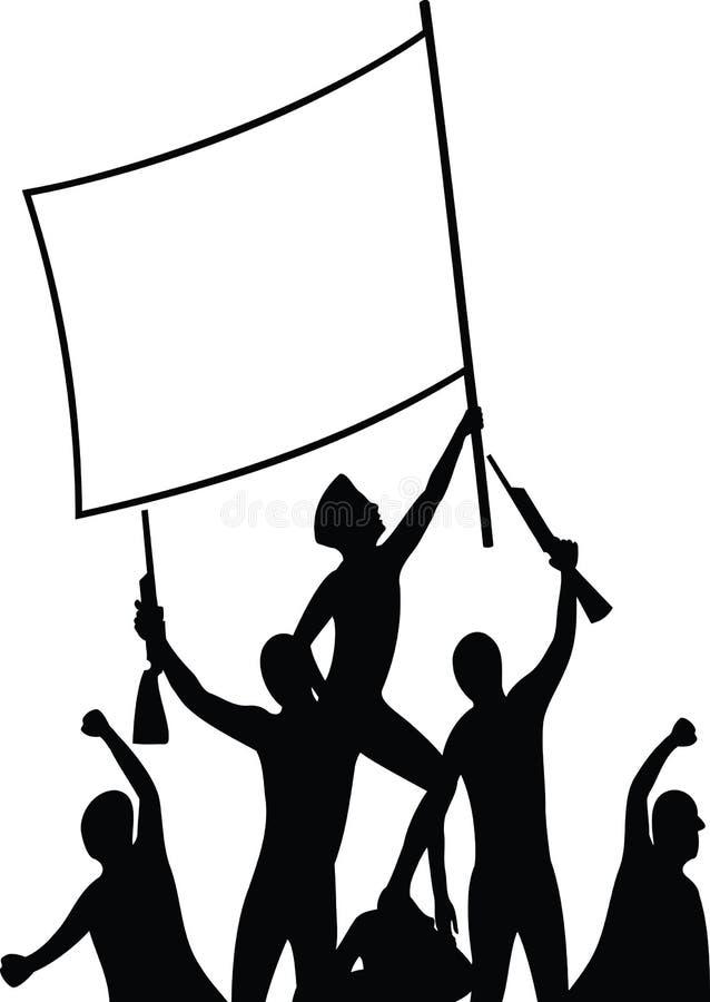 Vrijheidsvechters - silhouetillustratie stock illustratie