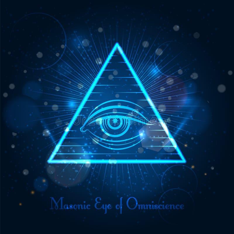 Vrijmetselaars- oog op blauwe glanzende achtergrond royalty-vrije illustratie