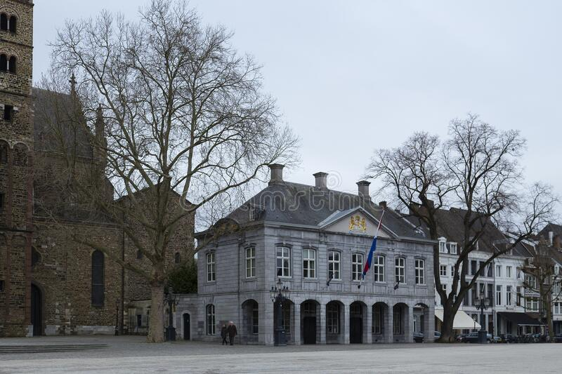 The Vrijthof, Maastricht. The large central historical square with centuries old historical structure. royalty free stock photos