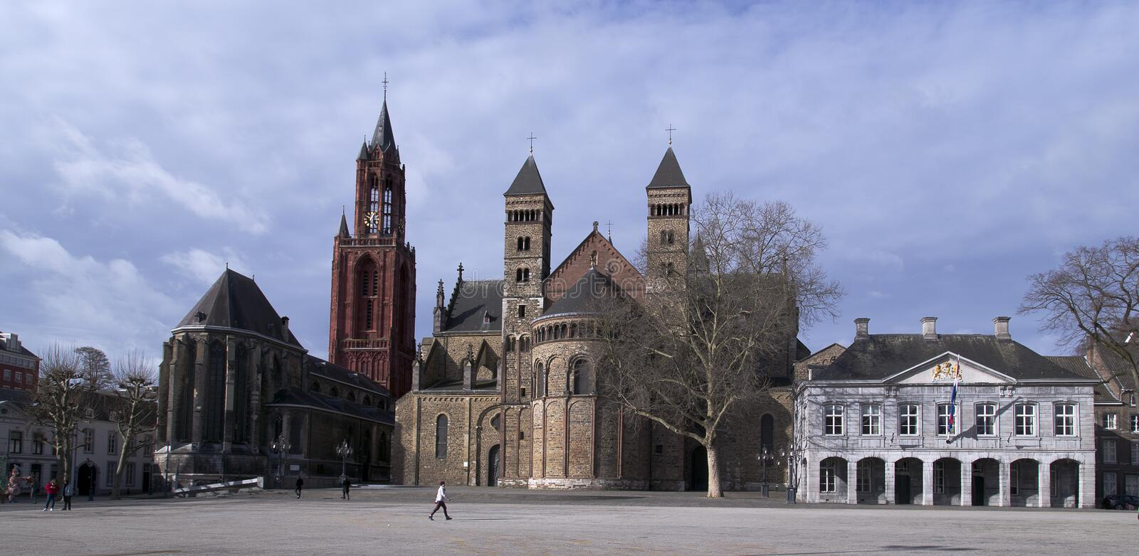 The Vrijthof, Maastricht. The large central historical square with centuries old historical structure. stock photos