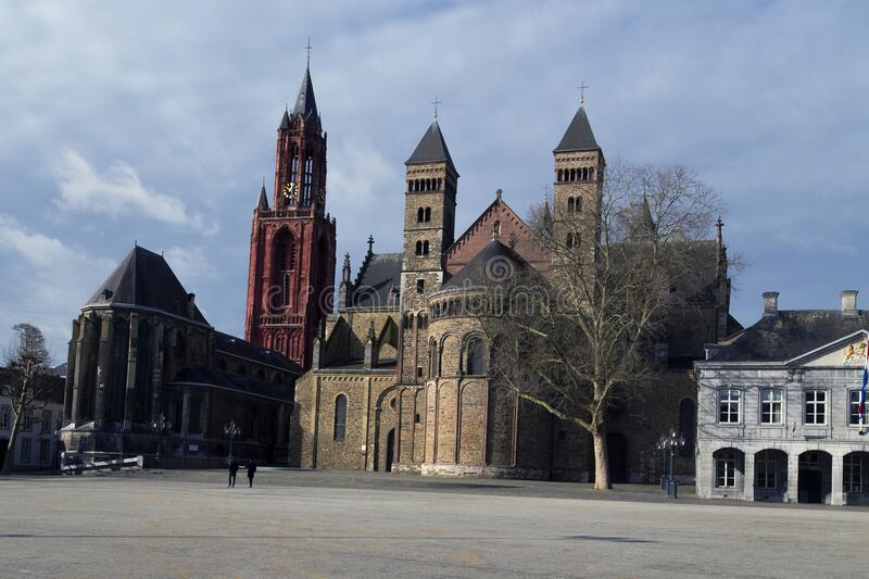 The Vrijthof, Maastricht. The large central historical square with centuries old historical structure. stock photography