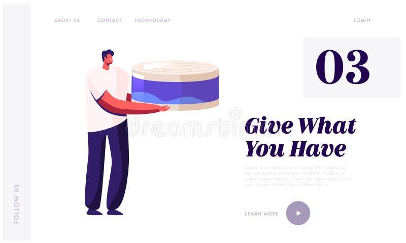 Vrijwilliger die voedsel naar arme mensen brengt Website landingspagina Man Holding Huge Canning Food Jar voor het verzamelen van royalty-vrije illustratie