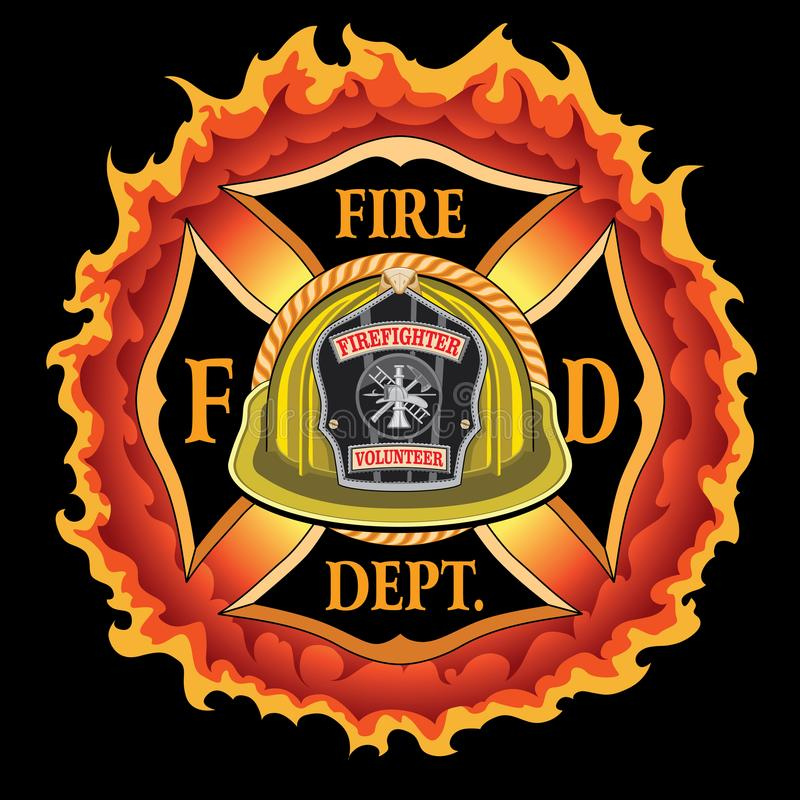 Vrijwilliger van de brandweerkorps de Dwars Uitstekende Gele Helm met Vlammen vector illustratie