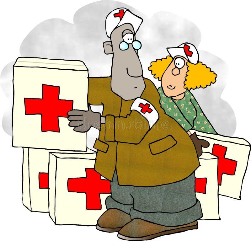 Vrijwilligers arbeiders vector illustratie
