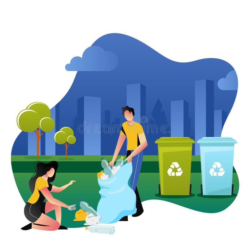Vrijwilligers die plastic huisvuil opnemen openlucht Het aanmelden zich, ecologie en milieuconcept Vector illustratie stock illustratie