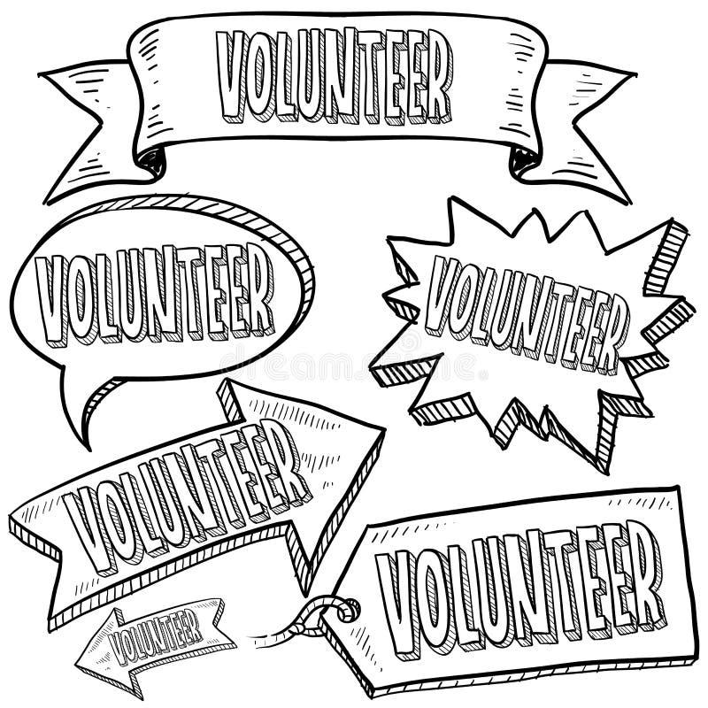 Vrijwilligers etiketten, banners, en markeringen royalty-vrije illustratie
