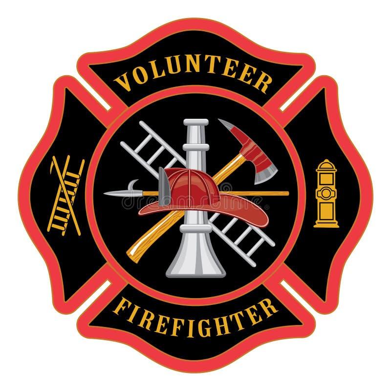 Vrijwilligersbrandbestrijder Maltese Cross stock illustratie