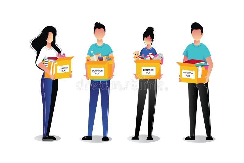 Vrijwilligersdiejongeren met schenkingsdozen, op witte achtergrond worden geïsoleerd Vector vlakke beeldverhaalillustraties royalty-vrije illustratie
