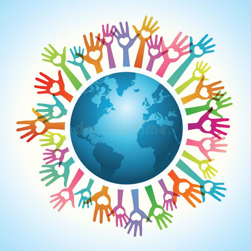 Vrijwilligershanden rond de wereld stock illustratie