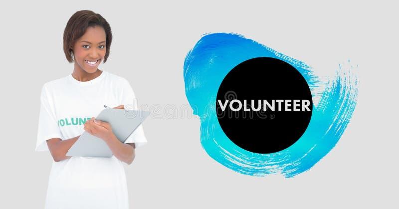 Vrijwilligersholdingsklembord tegen witte achtergrond royalty-vrije stock afbeelding