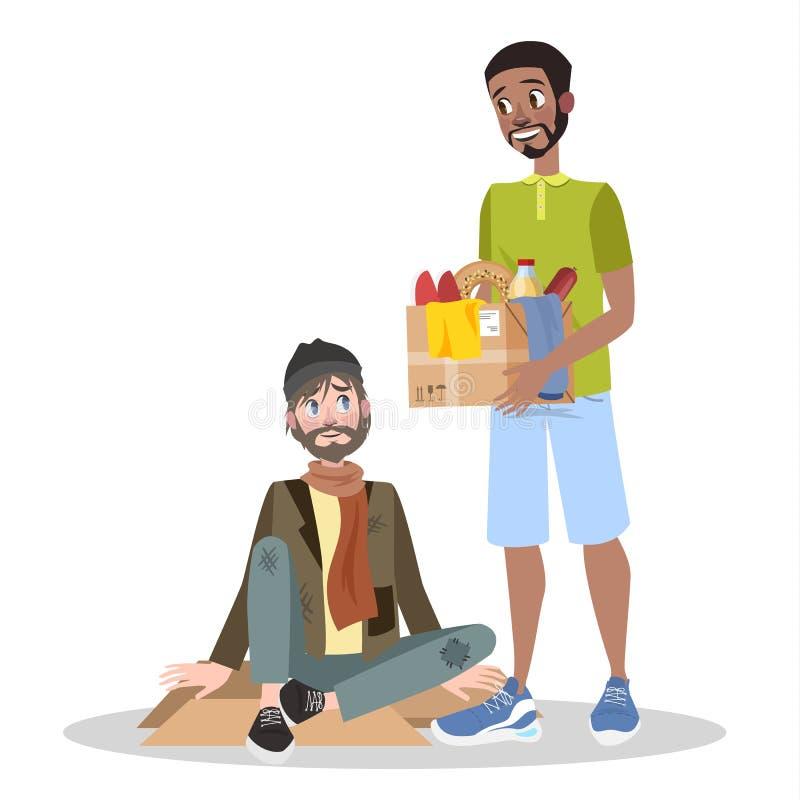 Vrijwilligershulp dakloze mens Idee van liefdadigheid stock illustratie