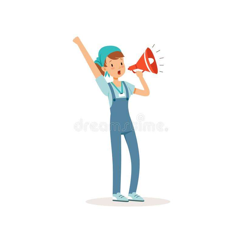 Vrijwilligersmeisje die en luid zich in megafoon bevinden gillen Het karakter van de beeldverhaaltiener in blauwe t-shirt, die gl vector illustratie