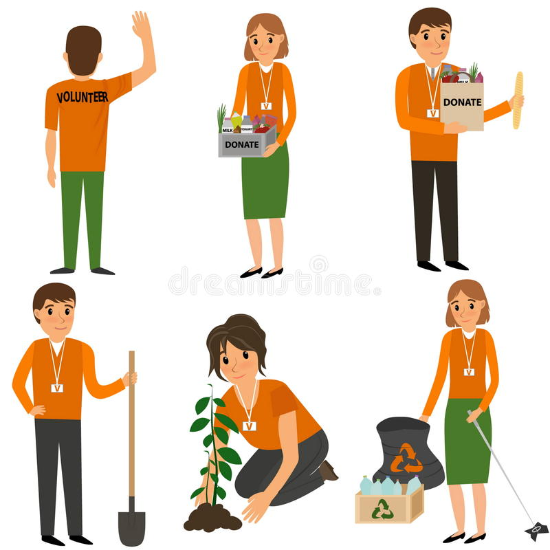 Vrijwilligersmensen in het werk royalty-vrije illustratie