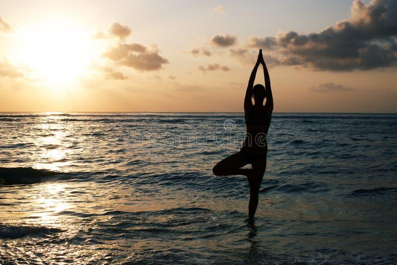 Vrikshasana drzewna poza od joga obraz stock
