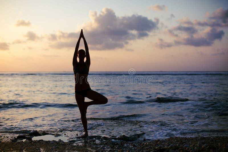 Vrikshasana drzewna poza od joga zdjęcie royalty free