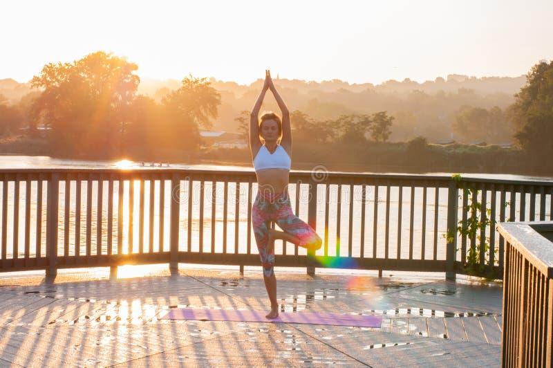 Vrikshasana poserar Den unga kvinnan gör yoga på soluppgången arkivfoto