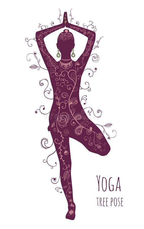 Vrikshasana pozy drzewny joga, żeńska sylwetka Zdrowy i piękno styl życia Ręka rysująca kwiecista tekstura royalty ilustracja