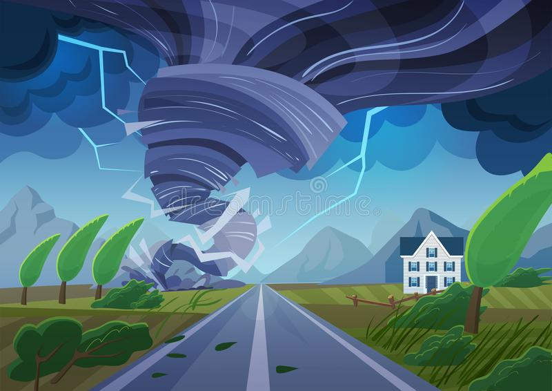 Vrillage de la tornade au-dessus de la route détruisant le bâtiment civil Tempête d'ouragan dans le paysage de campagne Catastrop illustration stock
