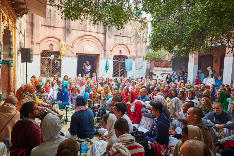 Vrindavan, 22 October 2016: Hare Krishna group chant in Vrindavan, UP royalty free stock photography