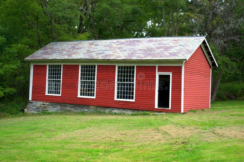 Vroeg Amerikaans Shaker Schoolhouse Lebanon Massachusetts stock afbeelding