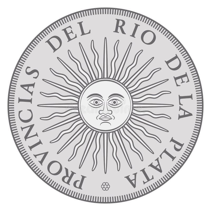 Vroeg Argentijns zilveren muntstuk met Zon van Mei vector illustratie