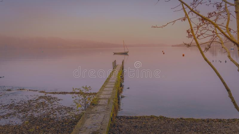Vroege Avond op Meer Windermere stock fotografie