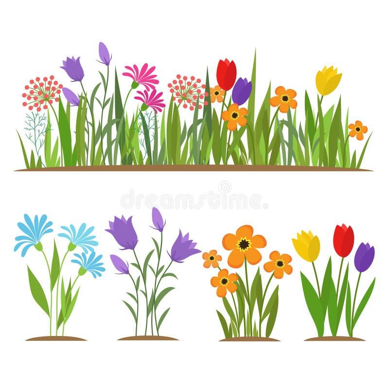 Vroege die van de de lentebos en tuin bloemen op witte vectorreeks worden geïsoleerd vector illustratie