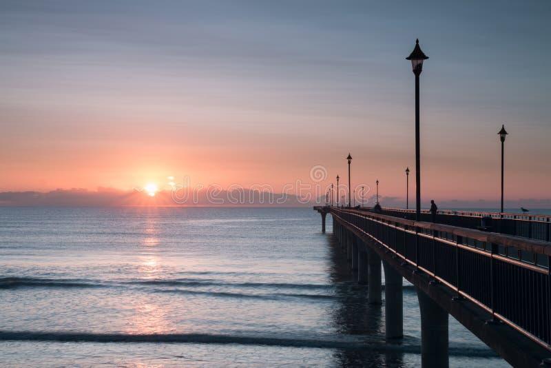 Vroege Ochtend in Nieuw Brighton Pier stock afbeelding