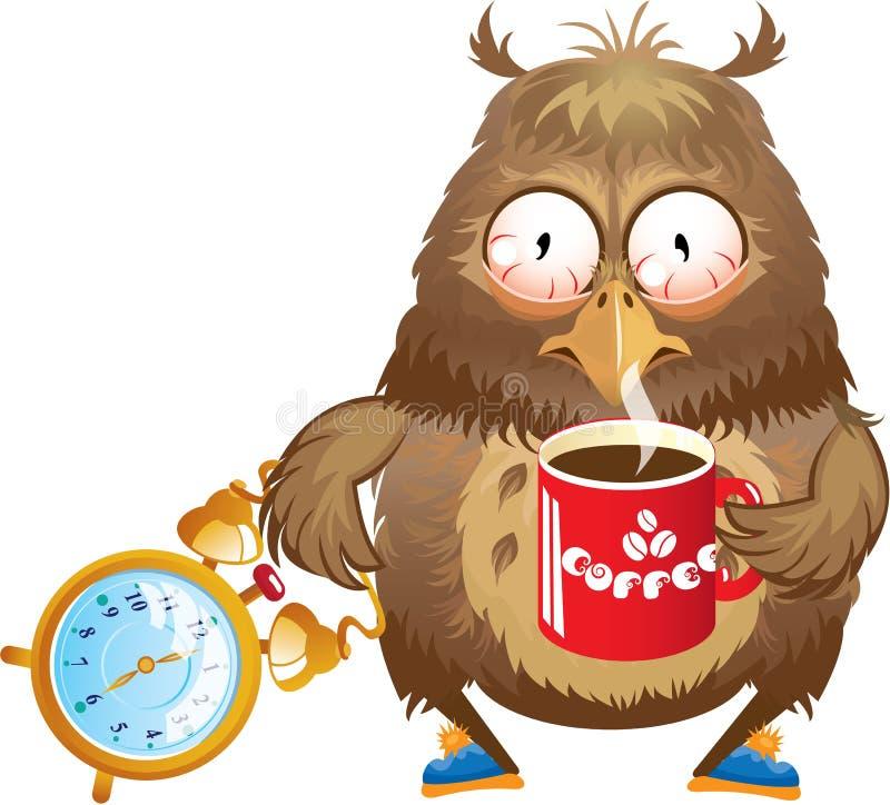 Vroege ochtendtijd - grappige uil met kop van koffie  royalty-vrije illustratie