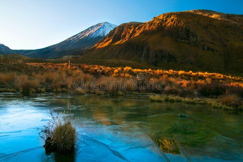 Vroege ochtendzonsopgang, landschapslandschap van bevroren blauw zuiver watermeer, wilde bergen en reusachtige vulkaan met sneeuw stock foto's
