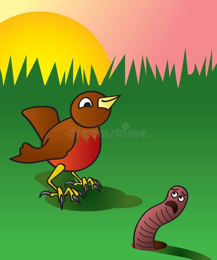 Vroege vogel die de Worm krijgt vector illustratie