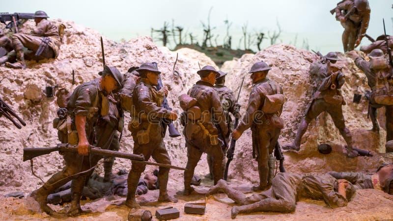 Vroege wereldoorlogdiorama stock afbeelding