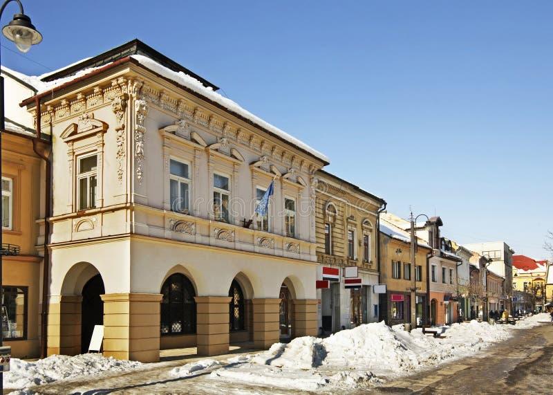 Vroeger huis van de overheid van de provincie in Liptovsky Mikulas slowakije stock afbeelding