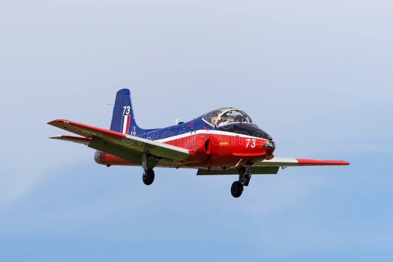 Vroeger Royal Air Force RAF BAC Jet Provost T straal de trainervliegtuigen van 5A XW289 g-JPVA op benadering om RAF Waddington te royalty-vrije stock foto's