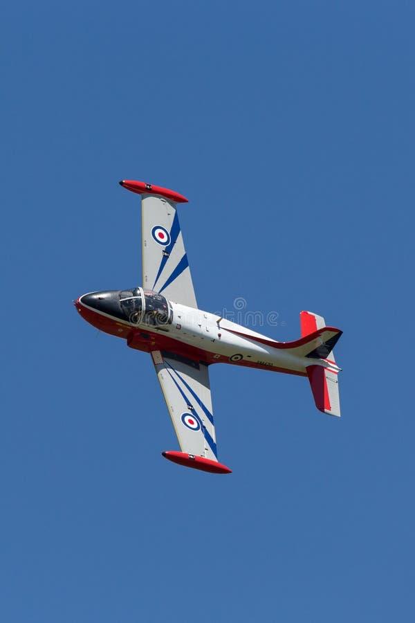 Vroeger Royal Air Force RAF Hunting p-84 Jet Provost T straal de trainervliegtuigen van 3A XM479 g-BVEZ stock afbeelding