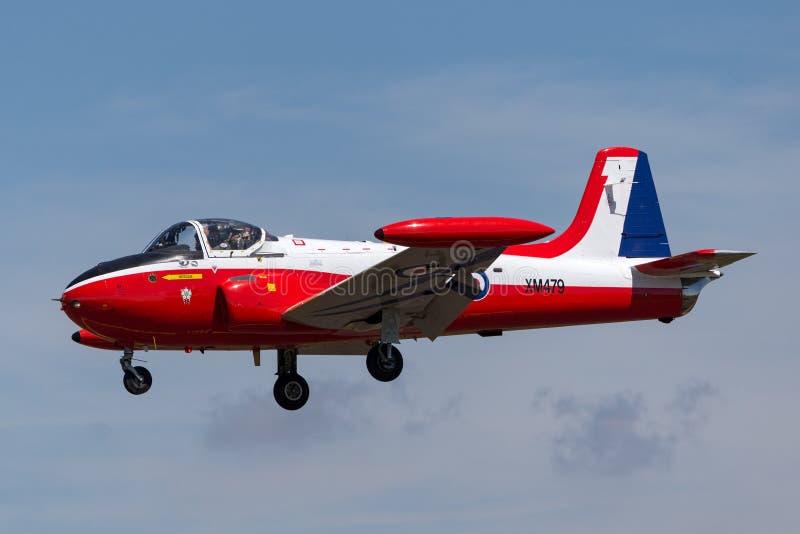 Vroeger Royal Air Force RAF Hunting p-84 Jet Provost T straal de trainervliegtuigen van 3A XM479 g-BVEZ stock foto