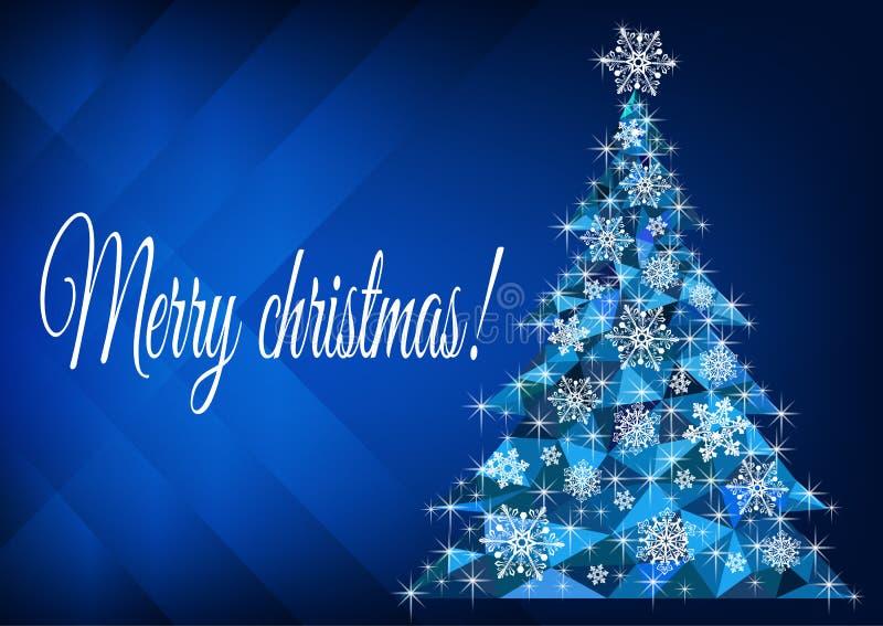 Vroegere kerstgroet met een abstracte kerstboom stock afbeeldingen