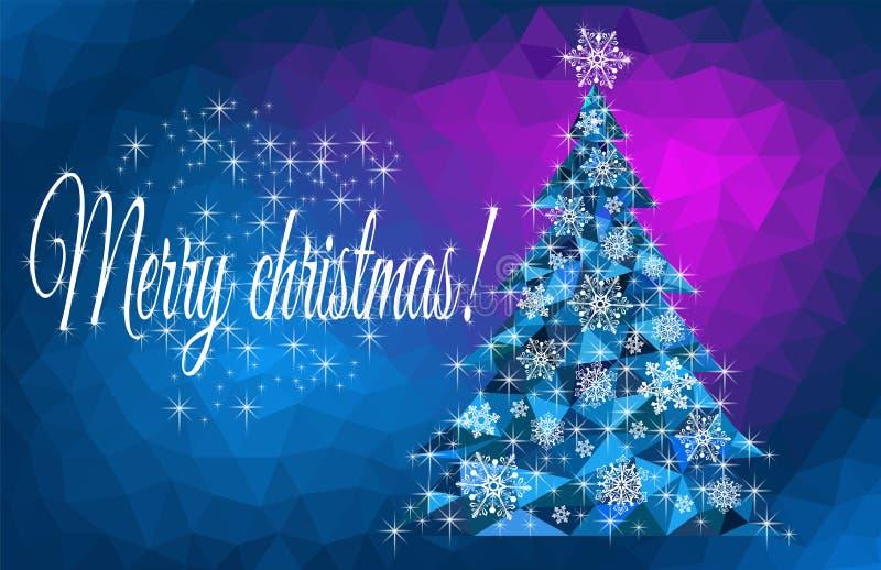 Vroegere kerstgroet met een abstracte kerstboom royalty-vrije stock foto's