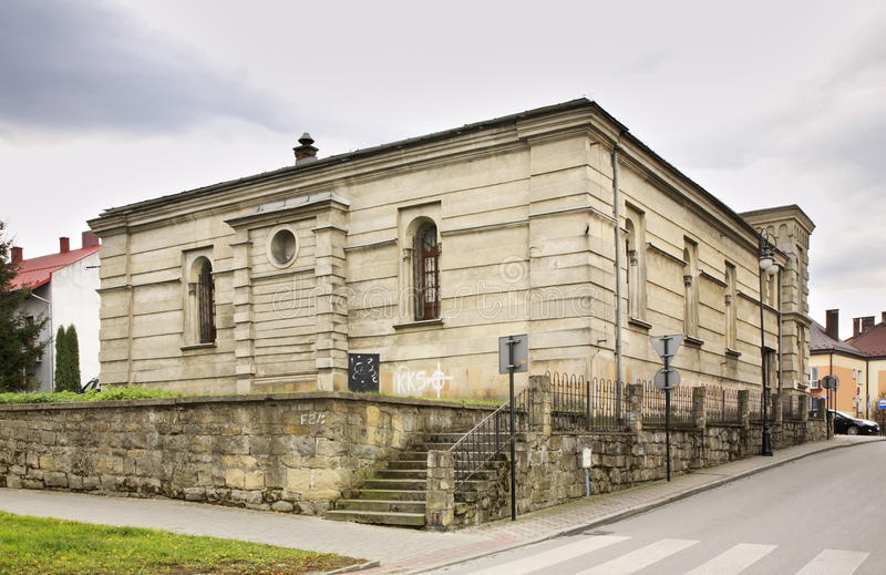 Vroegere synagoge in Nowy Sacz polen stock fotografie