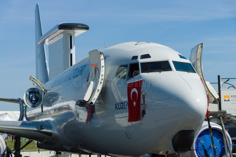 Vroegtijdige waarschuwing en controle in de lucht Boeing B737 AEWC royalty-vrije stock afbeelding