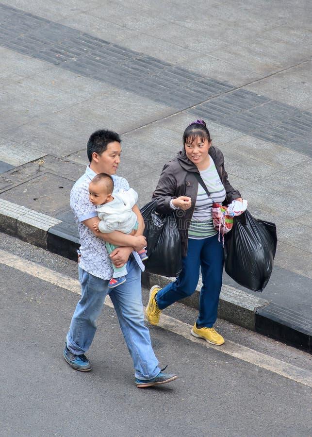 Vrolijk Chinees paar met kind, Chongqing, China royalty-vrije stock foto