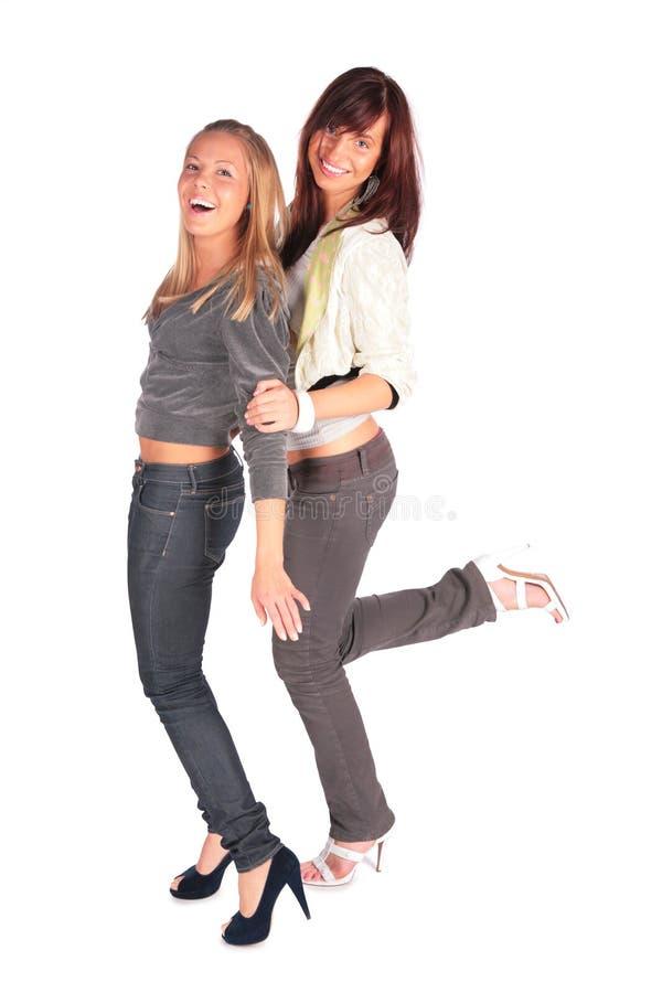 Vrolijk dansend meisje twee stock foto
