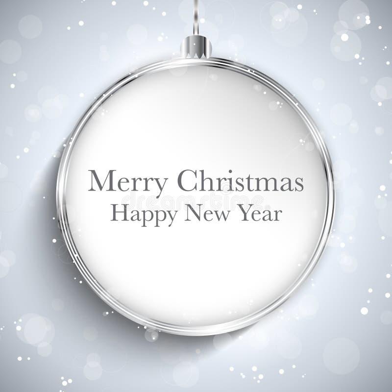 Vrolijk de Balzilver van het Kerstmis Gelukkig Nieuwjaar met St vector illustratie