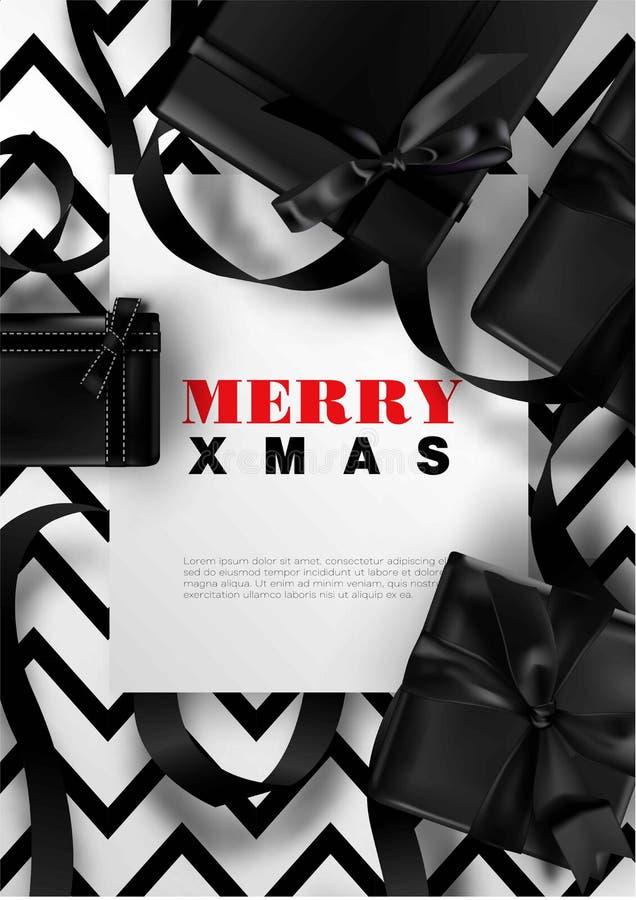 Vrolijk de kaart van de van de Achtergrond Kerstmisgroet van het de giftlint Kerstmis zwart wit premie het ontwerpmalplaatje vector illustratie