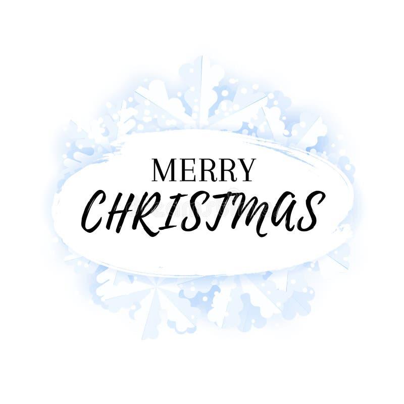 Vrolijk de kaart van de Kerstmisgroet malplaatje als achtergrond met sneeuwvlokken en sneeuw vector illustratie