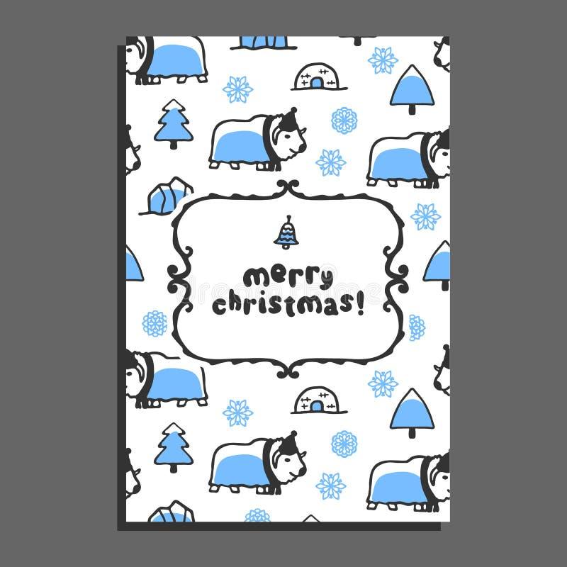 Vrolijk de kaartmalplaatje van de Kerstmisgroet met leuke beeldverhaal muskus-os stock illustratie