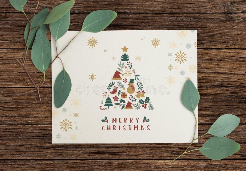 Vrolijk de kaartmodel van de Kerstmisgroet royalty-vrije stock foto's
