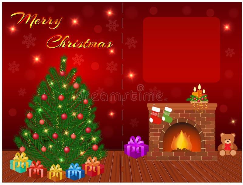 Vrolijk de kaartontwerp van de Kerstmisgroet met lege ruimte voor uw tekst, Kerstmisboom, giften, open haard stock illustratie
