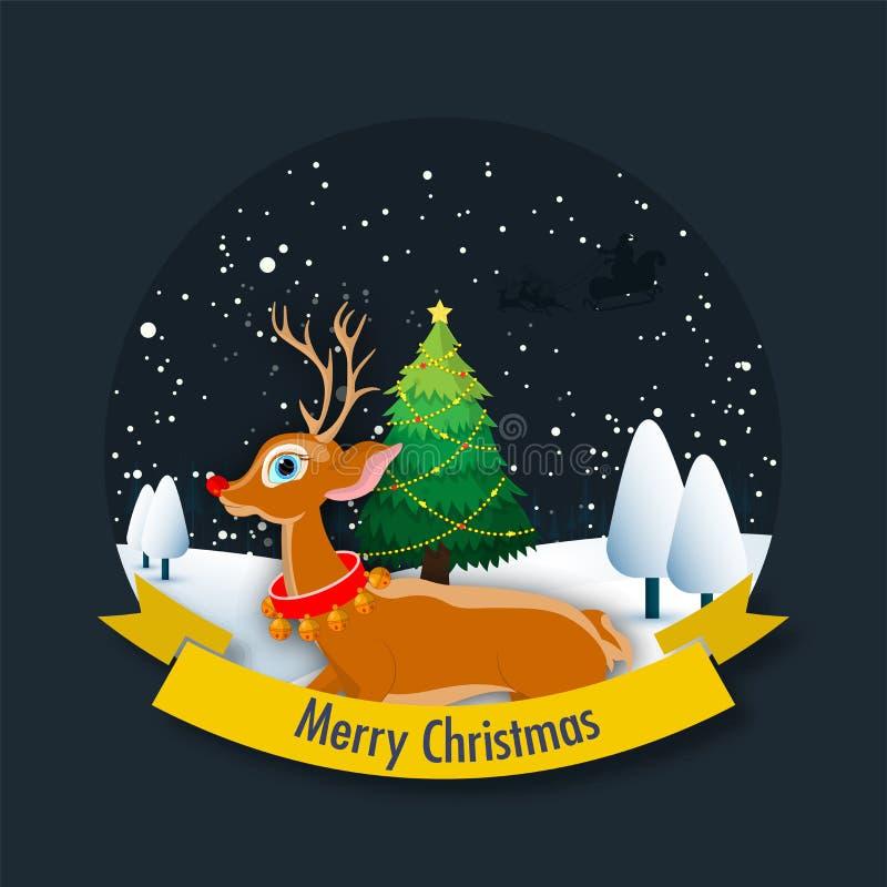 Vrolijk de kaartontwerp van de Kerstmisgroet met rendier en Kerstmisboom stock illustratie