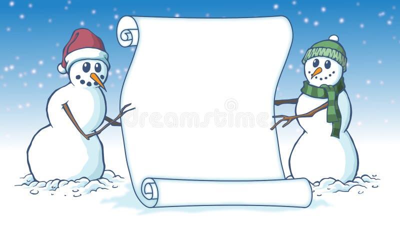 Vrolijk de kaartperkament van de Kerstmis leeg die rol door twee sneeuwmannen wordt gehouden vector illustratie